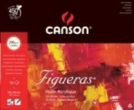 Альбом для масла Canson Figueras 290г/кв.м 46*38см 10листов Зерно холста склейка по короткой стороне