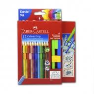 Набор для рисования: цветные карандаши и фломастеры Grip 2001 Faber-Castell с карточкой для раскрашивания, 15 предметов