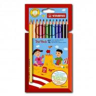 Цветные карандаши трехгранные Trio STABILO для рисования, набор 12 цветов