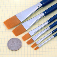 Плоские синтетические кисти TAG разной ширины(№) для аквагрима, рисования и макияжа