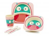Набор детской бамбуковой посуды Розовая сова