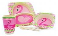Набор детской бамбуковой посуды Фламинго