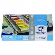 Набор акварельных красок Royal Talens Van Gogh, кюветы 12 цветов и 1 кисть