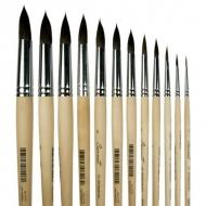 Художественные кисти белка микс Сонет, №1-№12, круглые, длинная ручка