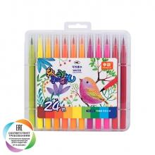 """Набор маркеров с наконечником """"кисть"""" для скетчинга и творчества, пенал, 24 цвета"""