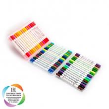 """Набор двусторонних маркеров c наконечниками """"кисть"""" и """"линер"""" для рисования, пенал, 48 цветов"""