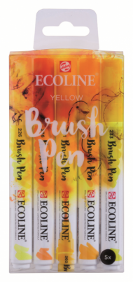 Набор акварельных маркеров Royal Talens Ecoline Brush Pen Желтые 5 штук в пластиковой упаковке