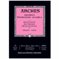 Альбом для акварели Arches 300г/кв.м (хлопок) 26*36см, 12л Сатин, склейка