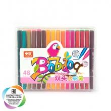 Набор двусторонних маркеров (кисть+линер) для скетчинга и творчества, пенал, 48 цветов