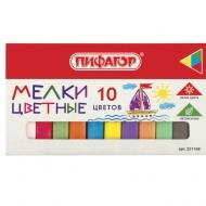 Мел цветной Пифагор, набор 10 шт., квадратный