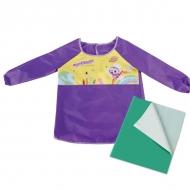 Набор для уроков труда Юнландия, клеенка ПВХ 40x69 см, фартук-накидка с рукавами, фиолетовый
