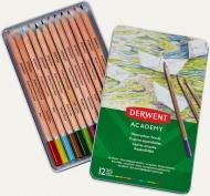 Набор акварельных карандашей Derwent Academy 12 цветов, металлический пенал
