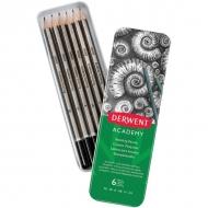 Набор чернографитных карандашей Derwent Academy Sketching 6шт 3B-2H, металлический пенал