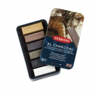 Набор угля Derwent Charcoal XL, 6 цветов, металлический пенал