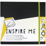 Альбом для маркеров Inspire Me Derwent, 80л, 12 г/м2, 200х200мм, белые и линованные листы