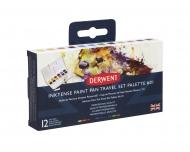 Набор акварельных чернильных кювет Derwent Inktense Paint Pan Travel Set, 12 цветов, 1 кисть, губка