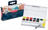 Набор акварельных чернильных кювет Derwent Inktense Paint Pan Travel Set 2, 12 цветов, 1 кисть, губка