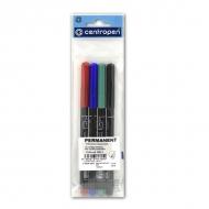 Набор перманентных спиртовых маркеров Centropen для маркировки, 4 цвета, линия 1 мм