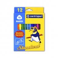Набор смываемых фломастеров для рисования Standart Trio Centropen, 12 цветов