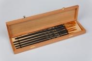 Набор кистей Roubloff №3 рыжая синтетика круглые+плоские 5 штук в деревянной шкатулке