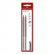 Чернографитные карандаши Faber-Castell, 2 шт. в наборе Grip 2001, ластик-колпачок, твердость HB, B