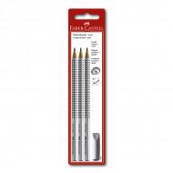 Простые карандаши FABER-CASTELL GRIP 3 шт, ластик-колпачок, твердость HB, B, 2B