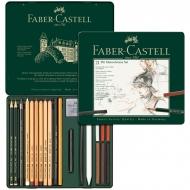 """Художественный набордля графики Faber-Castell """"Pitt Monochrome"""", 21 предмет, металлическая коробка"""