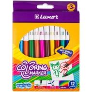 """Фломастеры Luxor """"Coloring"""", 12цв., смываемые, картон, европодвес"""