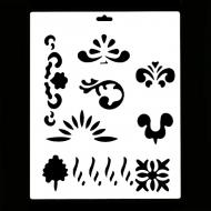 Гибкий трафарет Сонет НЕВСКАЯ ПАЛИТРА, Растительный орнамент, 25,5х20,5 см