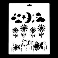 Гибкий трафарет Сонет НЕВСКАЯ ПАЛИТРА, Рыбки, цветы, луна, звезды, облака, 25,5х20,5 см