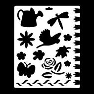 Гибкий трафарет Сонет НЕВСКАЯ ПАЛИТРА, Цветы, бабочки, птица, 25,5х20,5 см