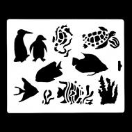 Гибкий трафарет Сонет НЕВСКАЯ ПАЛИТРА, Рыбы и пингвины, 25,5х20,5 см