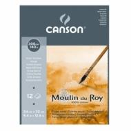 Альбом для акварели Canson Moulin du Roy 300г/кв.м (хлопок) 24*32см 12листов Торшон склейка по короткой стороне