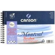 Альбом для акварели Canson Montval 270г/кв.м (целлюлоза) 13.5*21см 12листов Снежное зерно спираль по короткой стороне
