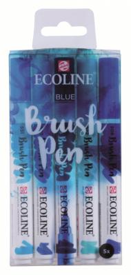 Набор акварельных маркеров Royal Talens Ecoline Brush Pen Синие 5 штук в пластиковой упаковке