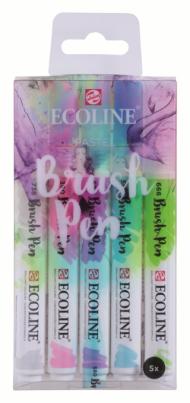 Набор акварельных маркеров Royal Talens Ecoline Brush Pen Пастельные 5 штук в пластиковой упаковке