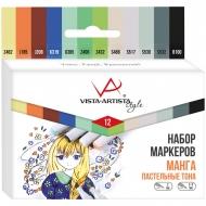 """Набор маркеров для творчества Vista-Artista """"Style"""" 12цв., пулевидный/скошенный, 0.7мм/1-7мм, Манга (Пастельные тона)"""