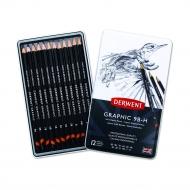 Набор чернографитных карандашей Derwent Graphic Soft, 12шт., 9B-H, металлический пенал