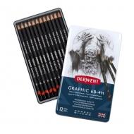Набор чернографитных карандашей Derwent Graphic Medium, 12шт., 6B-4H, металлический пенал