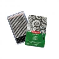 Набор чернографитных карандашей Derwent Academy Sketching 12шт 6B-5H, металлический пенал