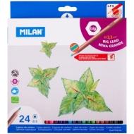 """Карандаши Milan """"213"""", 24цв., заточен., утолщенный грифель, картон, европодвес"""