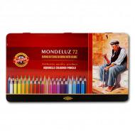 Акварельные цветные карандаши Koh-I-Noor Mondeluz 72 цвета, металлический пенал
