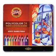 Художественные цветные карандаши Koh-I-Noor POLYCOLOR, набор 24 цвета, мет. пенал
