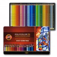Художественные цветные карандаши Koh-I-Noor POLYCOLOR, набор 36 цветов, металлический пенал