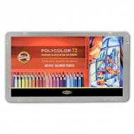 Художественные цветные карандаши Koh-I-Noor POLYCOLOR в металлическом пенале, 72 цвета