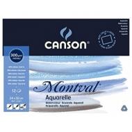 Блок для акварели Canson Montval 300г/кв.м (целлюлоза) 24*32см 12листов склейка по 4 сторонам