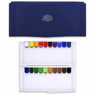 Набор акварельных красок MIJELLO Silver Pen, 20 цв. в кюветах, синяя палитра