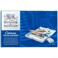 """Акварель художественная Winsor&Newton """"Cotman Deluxe Sketchers Pocket Box"""", 16 цв. и аксессуары, пласт. коробка"""