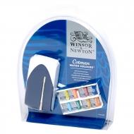 """Акварель художественная Winsor&Newton """"Cotman Mini Plus - 8 Half Pans"""",  8 цв, малая кювета, кисть комп. №5, пласт. коробка"""