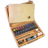 Подарочный набор Maimeri Classico масляные краски 11 цв., разбавитель, кисть, масленка, палитра, в деревянном кейсе